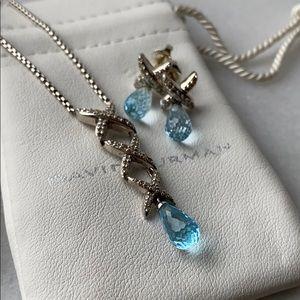 🛍 David Yurman Set Blue Topaz Necklace & Earrings